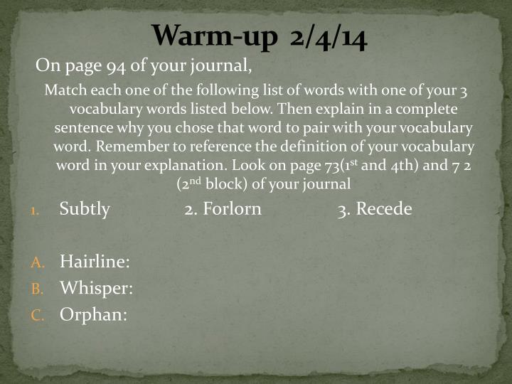 Warm-up  2/4/14