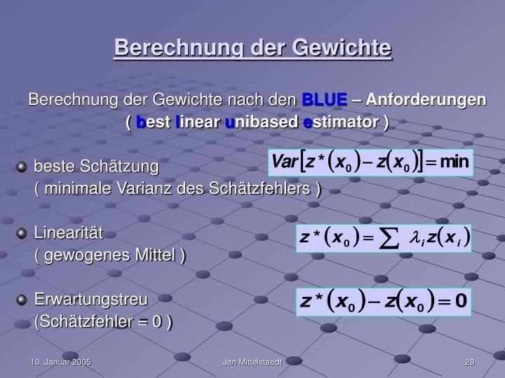 Berechnung der Gewichte
