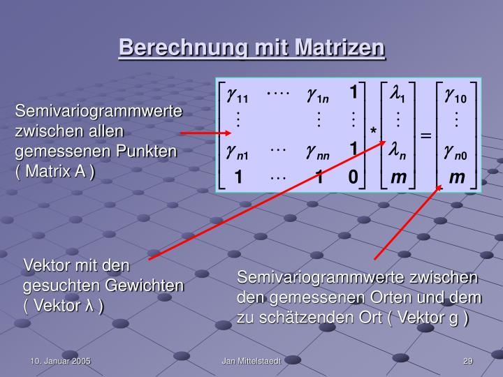 Berechnung mit Matrizen