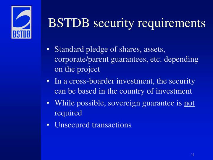 BSTDB security requirements