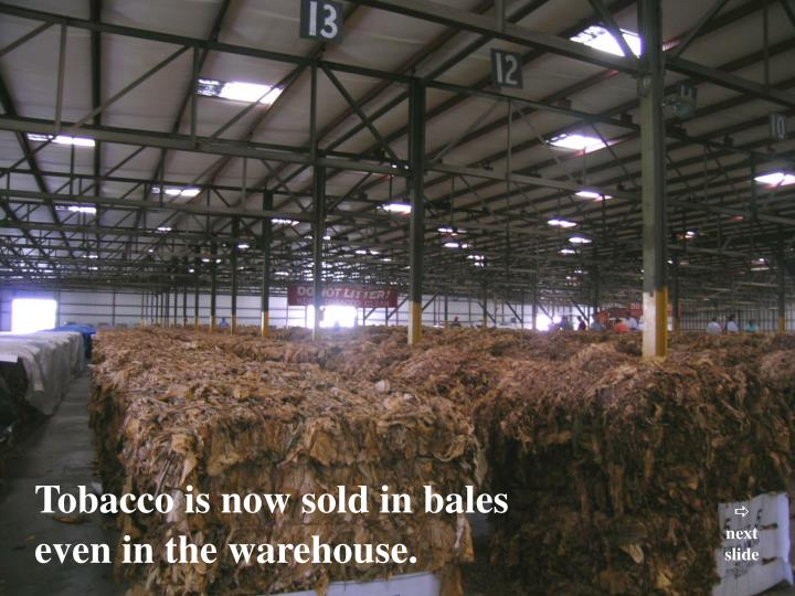 Tobacco is now sold in bales