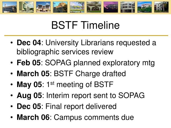 BSTF Timeline