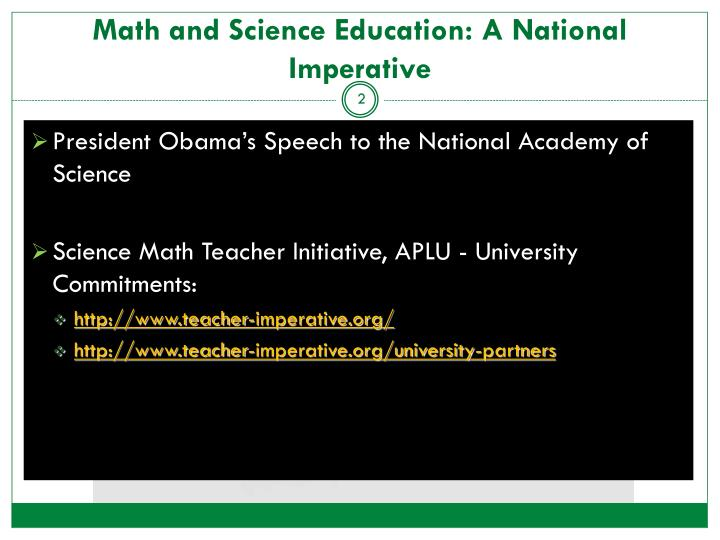 Math and Science Education: A National Imperative