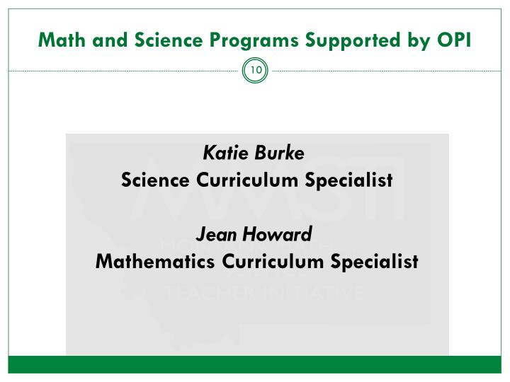Math and Science Programs Supported by OPI
