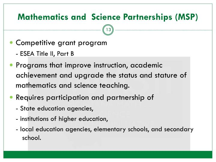 Mathematics and  Science Partnerships (MSP)