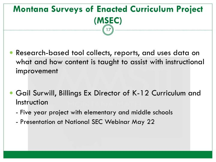Montana Surveys of Enacted Curriculum Project (MSEC)