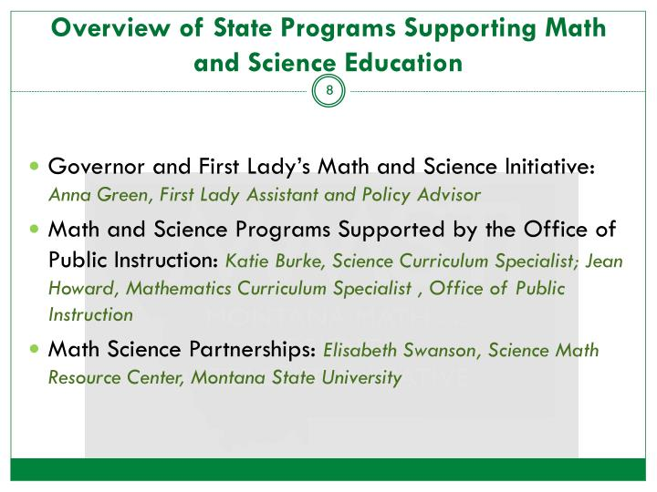 Overview of State Programs Supporting Math and Science Education