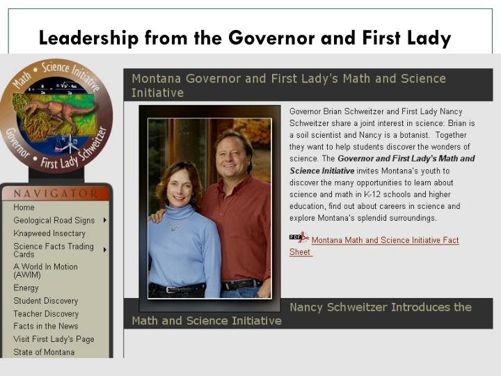 Leadership from the Governor and First Lady
