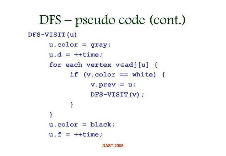 DFS-VISIT(u)