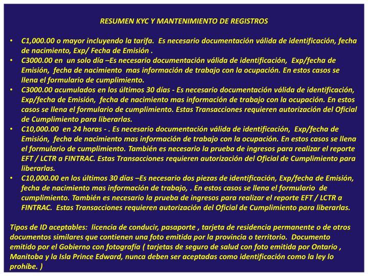 RESUMEN KYC Y MANTENIMIENTO DE REGISTROS
