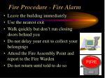 fire procedure fire alarm