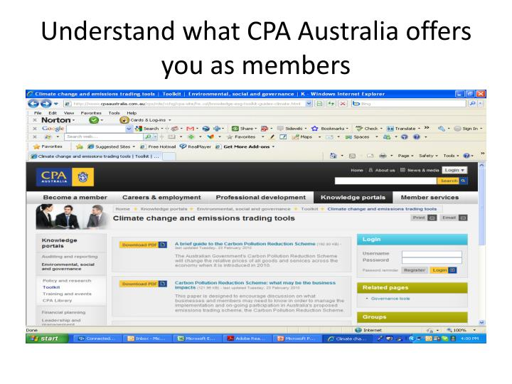 Understand what CPA Australia offers you as members