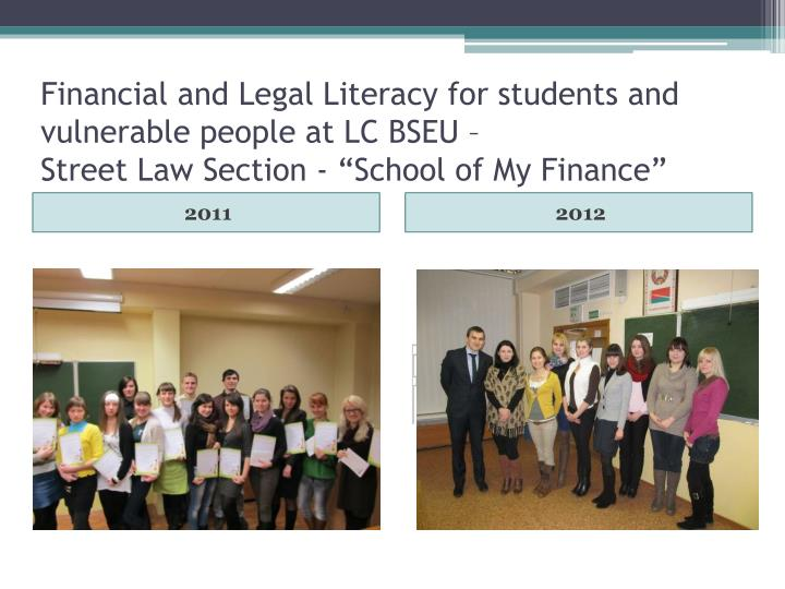 Financial and Legal Literacy for students and vulnerable