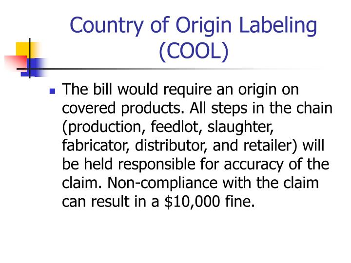 Country of Origin Labeling (COOL)