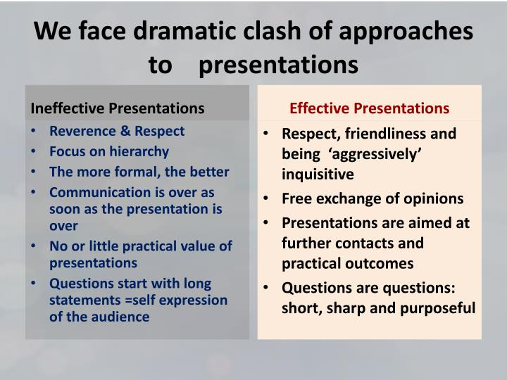 We face dramatic clash of approaches to presentations