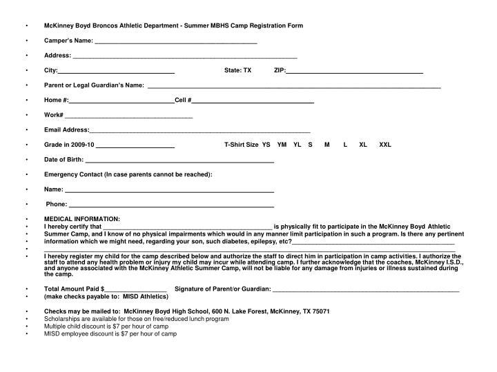 McKinney Boyd Broncos Athletic Department - Summer MBHS Camp Registration Form