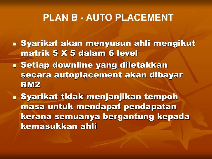 PLAN B - AUTO PLACEMENT