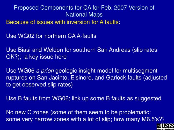 proposed components for ca for feb 2007 version of national maps
