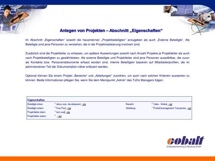 """Anlegen von Projekten – Abschnitt """"Eigenschaften"""""""