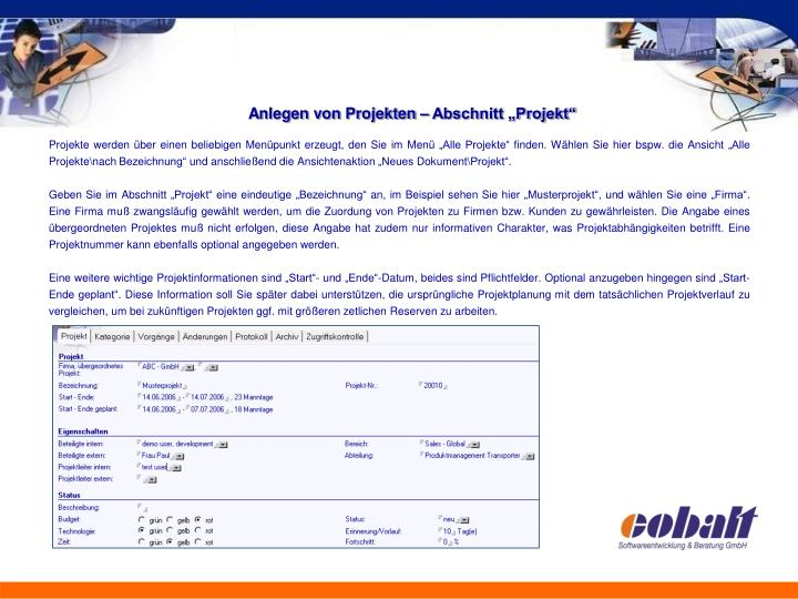 "Anlegen von Projekten – Abschnitt ""Projekt"""