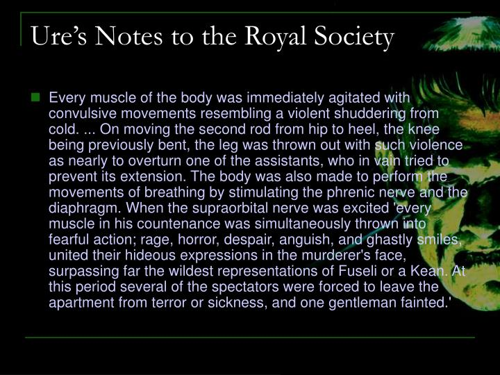 Ure's Notes to the Royal Society