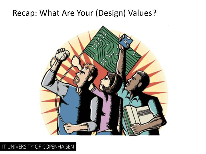 Recap: What Are Your (Design) Values?