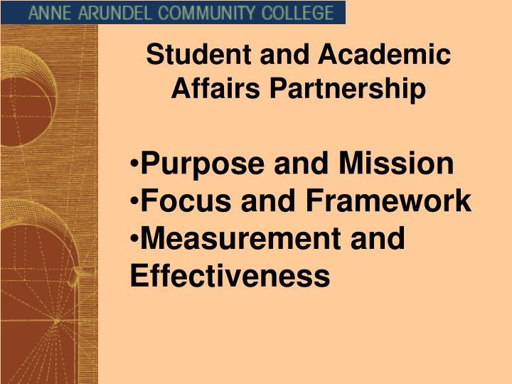 Student and Academic Affairs Partnership