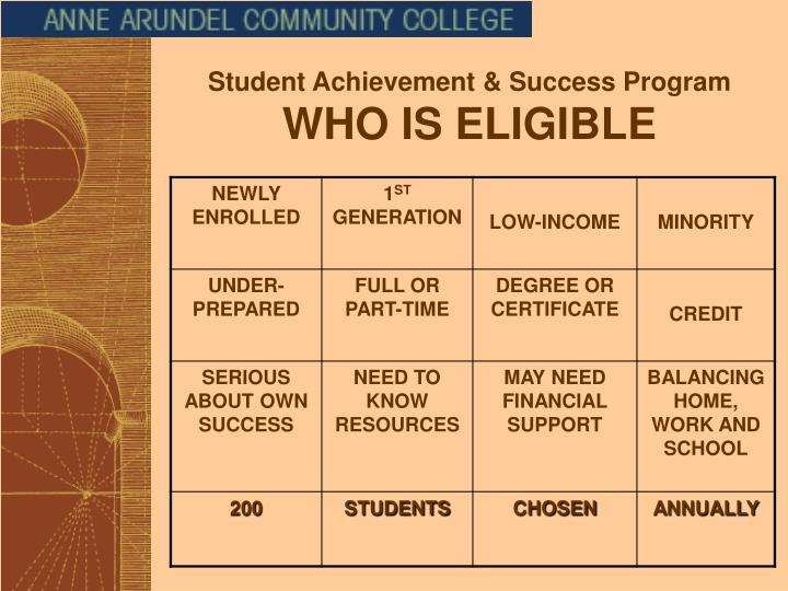 Student Achievement & Success Program