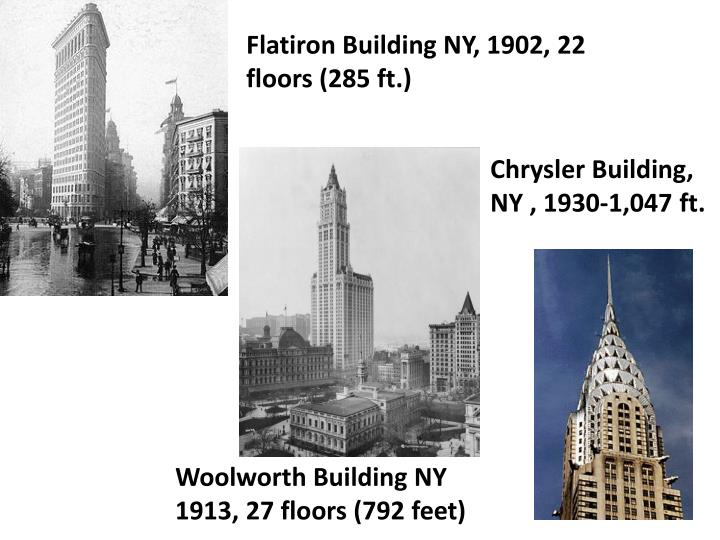 Flatiron Building NY, 1902, 22 floors (285 ft.)