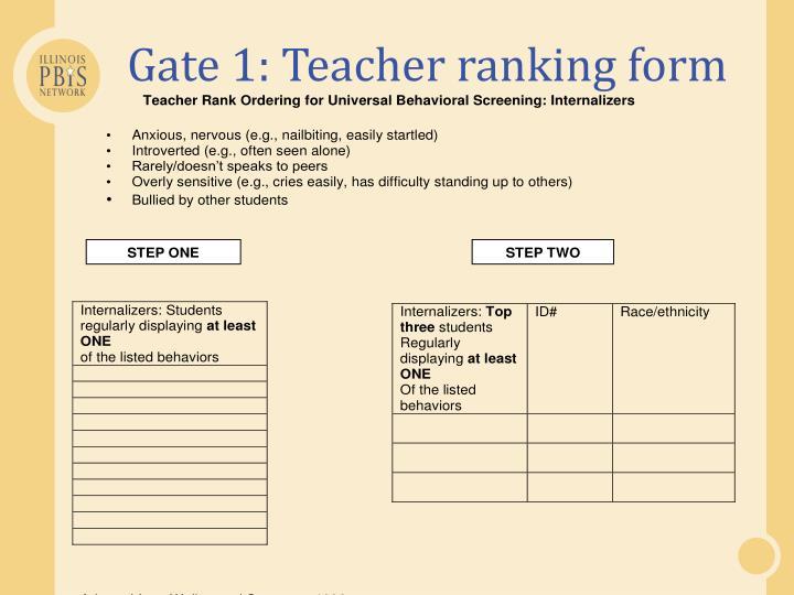 Gate 1: Teacher