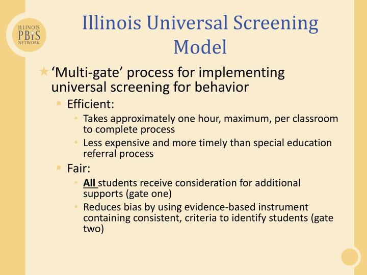 Illinois Universal Screening Model