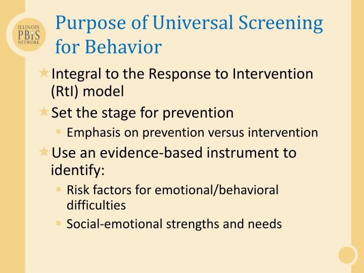 Purpose of Universal Screening for Behavior