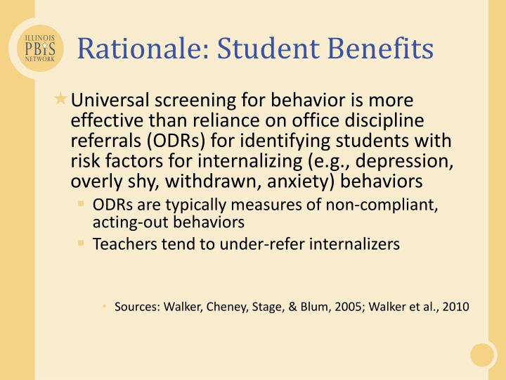 Rationale: Student Benefits