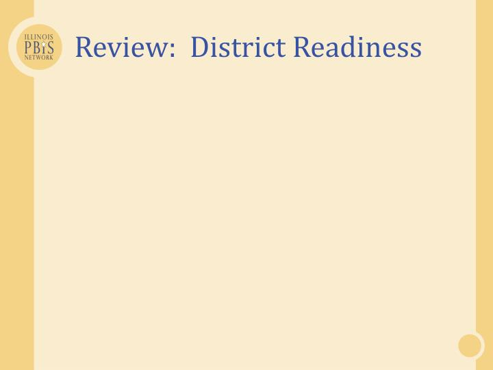 Review:  District Readiness