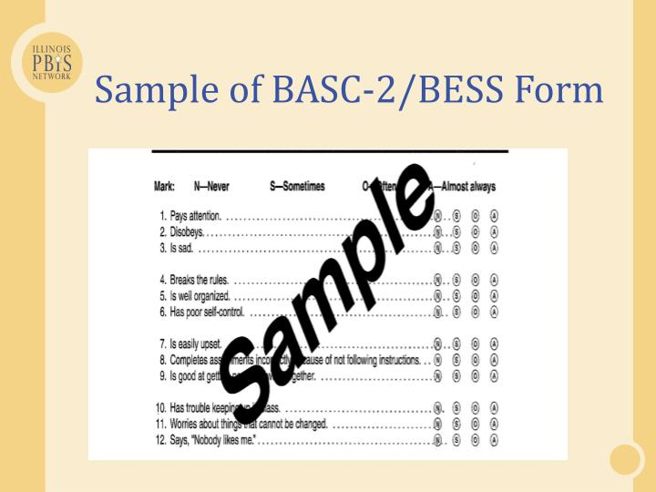 Sample of BASC-2/BESS Form