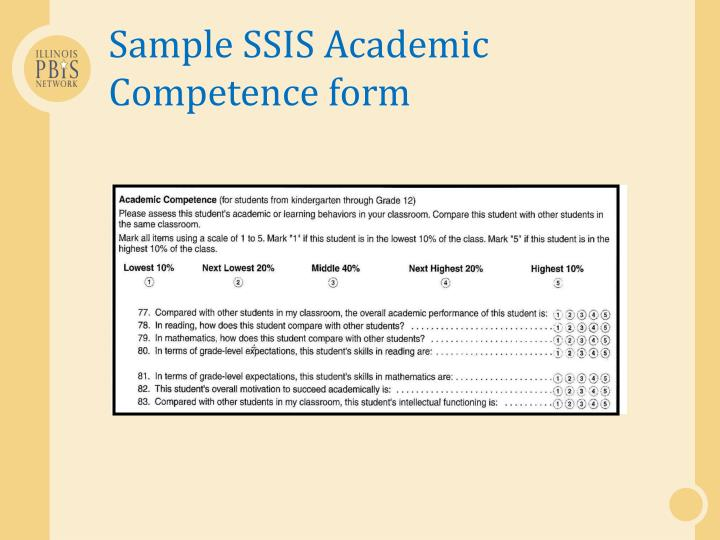 Sample SSIS Academic Competence
