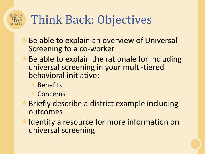 Think Back: Objectives