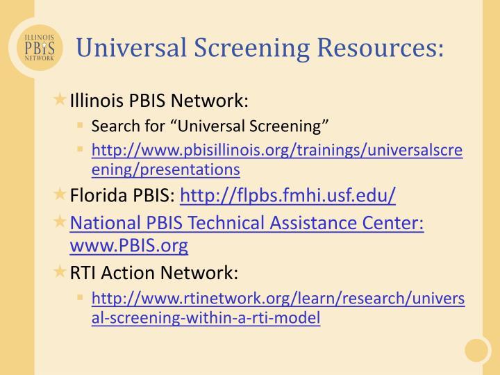 Universal Screening Resources: