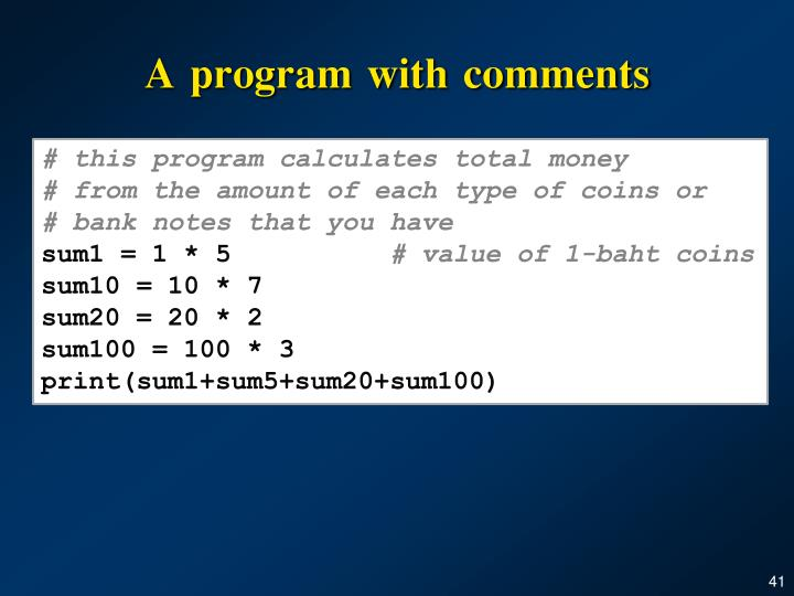 A program with comments