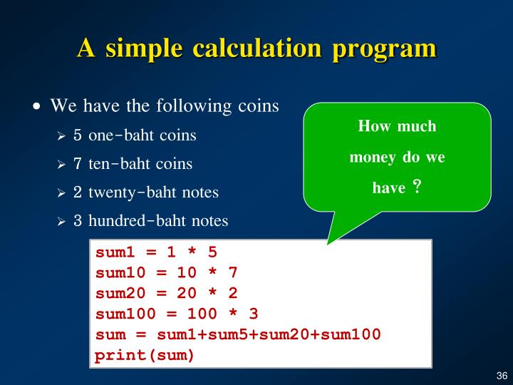 A simple calculation program