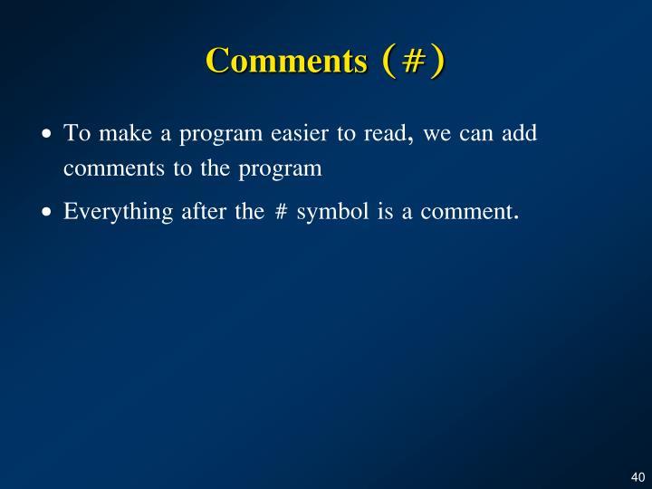 Comments (#)