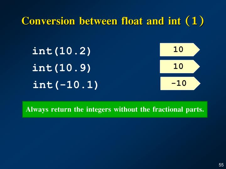 Conversion between float and