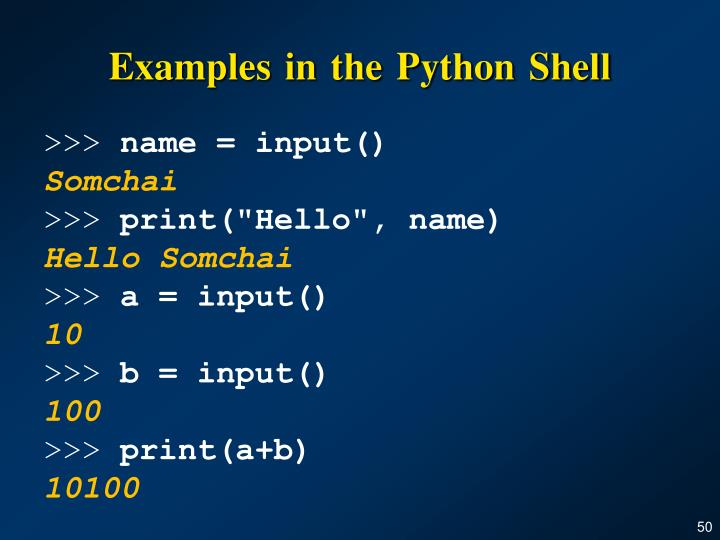 Examples in the Python Shell