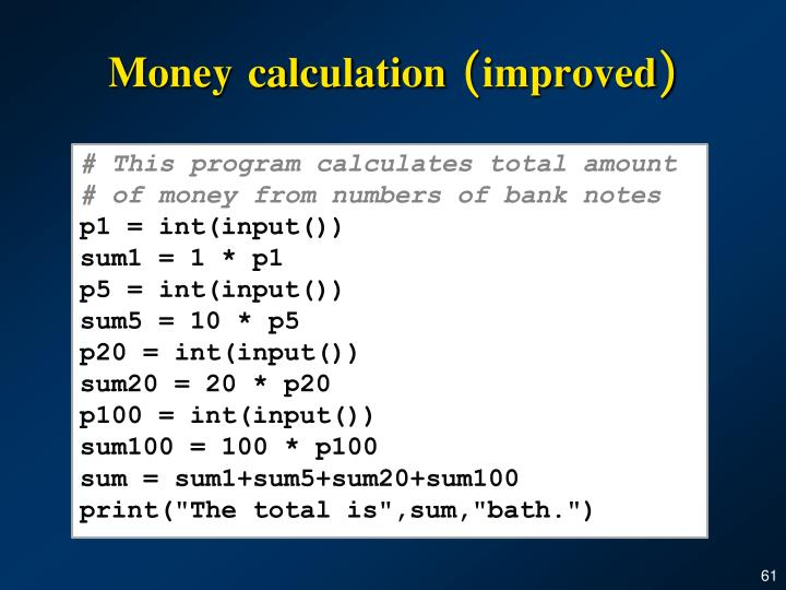 Money calculation
