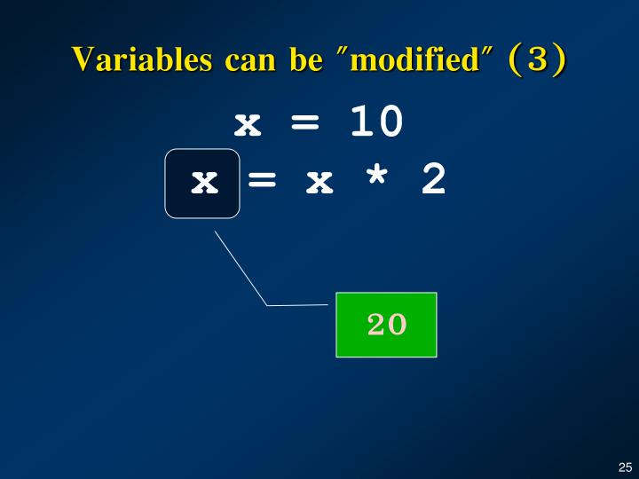 """Variables can be """"modified"""" (3)"""
