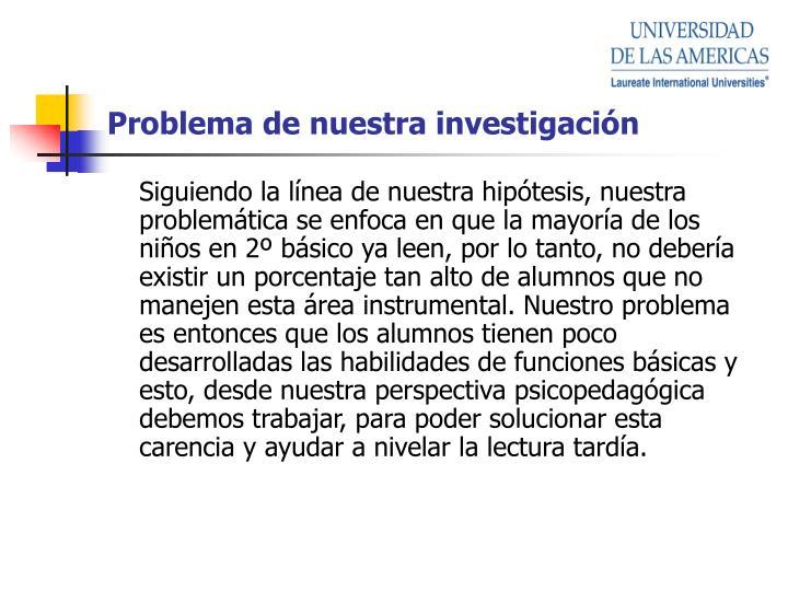 Problema de nuestra investigación