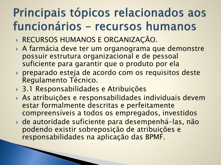 Principais tópicos relacionados aos funcionários – recursos humanos