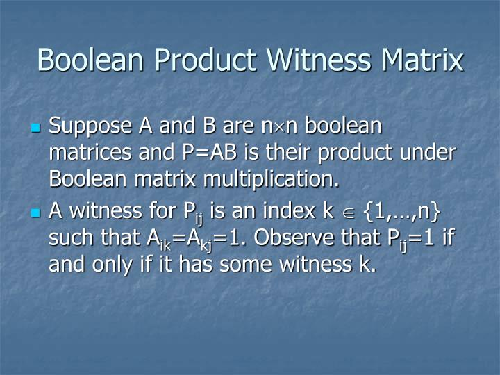 Boolean Product Witness Matrix
