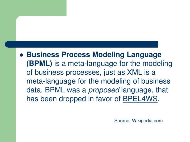 Business Process Modeling Language (BPML)