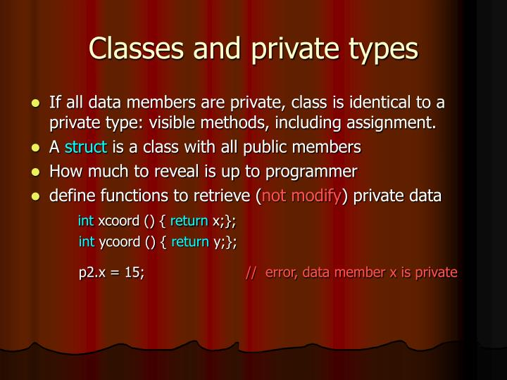 Classes and private types